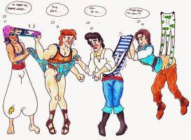 Request - Disney prince wedgies by Black-Chocobo99