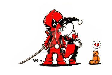 Chibi Deadpool and Harley by RickBas