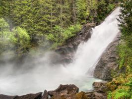 Waterfall And Mist Background by Burtn
