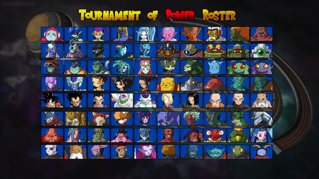 Dragon Ball Super: Tournament of Power Roster by Zyphyris