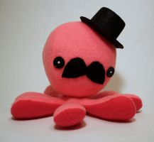One of a kind Pink gentleman octo-plushie by jaynedanger