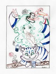 Cheshire Cat and Ms. Hatter by ATatteredCanvas