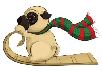 sledding Pug by ScribalWriter
