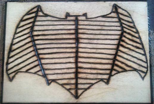 Batfleck Woodburnt Logo by JohnnyNoWop