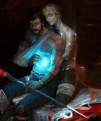 Hawke and Anders(Justice) by LoranDeSore
