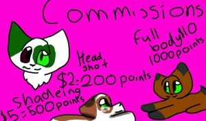 commissions (open) you have to pay with points by Lpskittylover-901