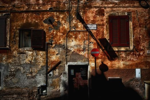 Dark Holes on the Red Old Wall by Hermetic-Wings