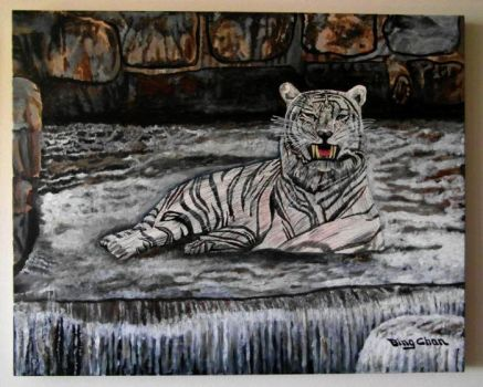 White Tiger resting at a fall by bing2014