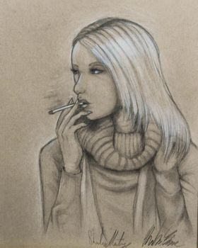 First Drawing With Tanned Paper by TravelingArtist93