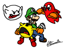 Luigi and Pacman Haunted by Lwiis64