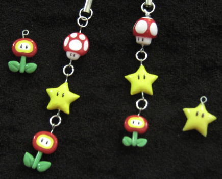 Mario powerup charms by Nanahuatli