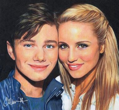 Colfer and Agron drawing by Live4ArtInLA