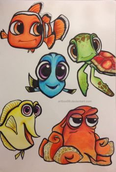 Chibi Finding Nemo/Dory Characters by artbox99