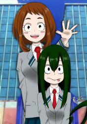 Ochako Uraraka and Tsuyu Asui by LuluHimeChannel