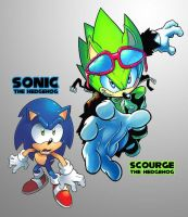 Sonic and Scourge by Drewmaru