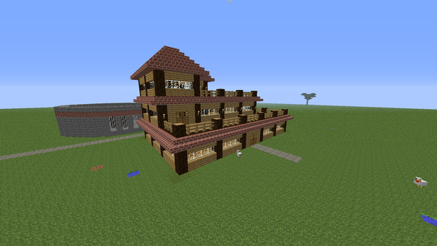 Minecraft Homestead (Angled View) by PokemonSoldier