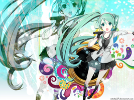 Miku Sing Wallpaper by Mitche27