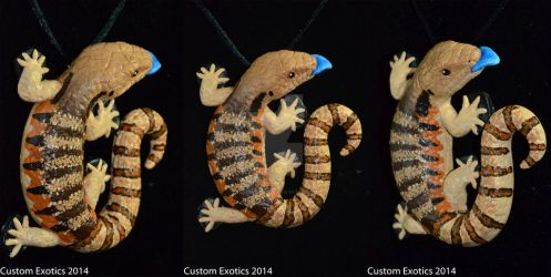 Polymer Clay Blue Tongue Skink Pendant by CustomExotics