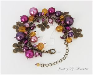 Cluster Bracelet-Purple and Yellow with Butterfly