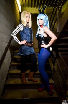 Bulma and Android 18 by HaleyHelloKitty