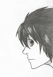 Death Note L (profile view) by DovahkiinRuvaak