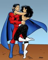 Mon-El and Troia embrace LSH Titans by SatyQ