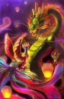 The Dragon and the Phoenix by Morigalaxy
