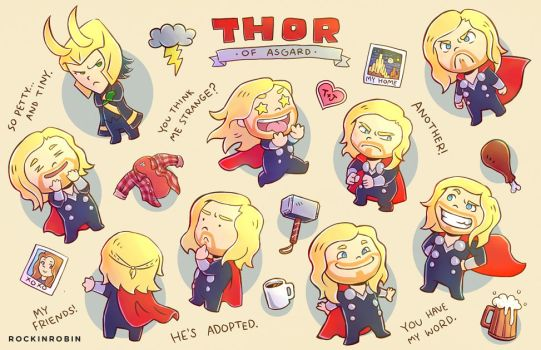 Thor Chibi Poster by rockinrobin