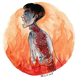 Goretober 12: Fire damage by Momagie