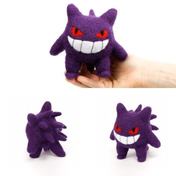 Needlefelted gengar by Greencherryplum