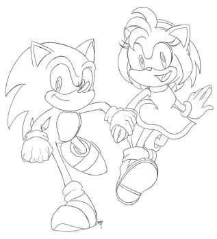 Sonic and Amy Lineart by Tell-Me-Lies