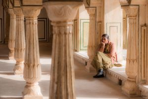 Incredible India -  colums and pensive mood by Rikitza