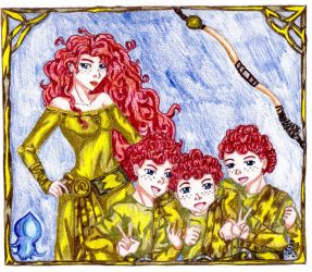 Merida and Harris, Hubert and Hamish in Gold by IsisConstantine