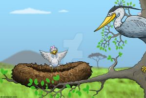 Heron and Chick by SeanDrawn
