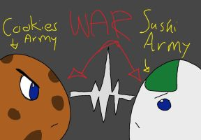The cookie and sushi WAR by annaxxz