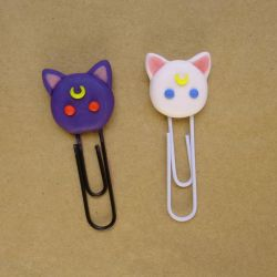Luna and Artemis Paper Clips ~ Sailor Moon by bellakenobi