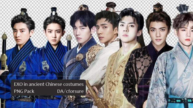 PNG Pack- EXO in Ancient Chinese Costumes by cforsure