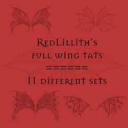 RedLillith's Wing tats set 4 by rL-Brushes