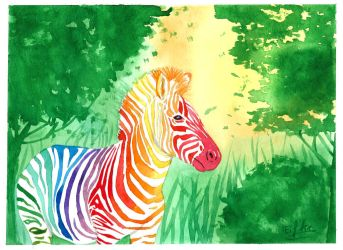 Zebra Watercolor by Eif-ka