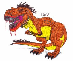 T.rex with chainsaw teeth by XenoTeeth3