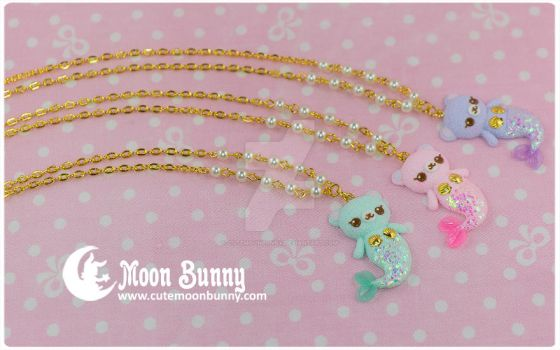 Mermaid bear Necklace by CuteMoonbunny