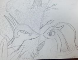 Milotic and serperior sketch by SweetStrokesStudios