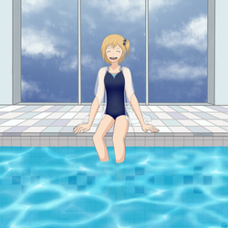 Yachi at the Pool by Mallowbird