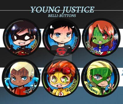 Young Justice Buttons by jinyjin