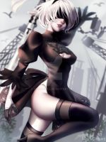 Nier Automata: 2B by cosmogirll