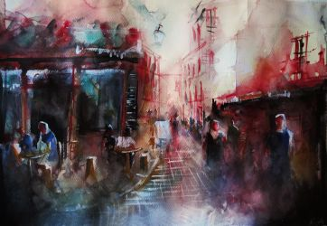 Cafe - painting by nicolasjolly