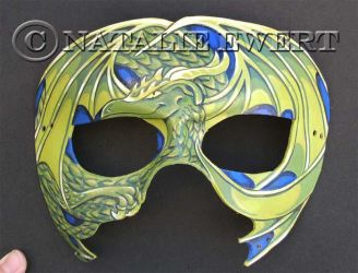 Curled Dragon Mask In Green SOLD by natamon