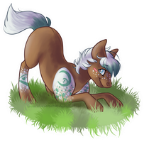 Playing in the grass - art trade by BlueberryChill