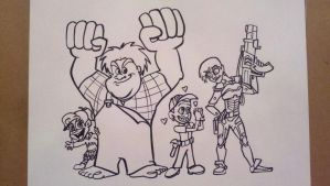 Wreck-It Ralph cast by artbylukeski