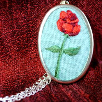 Embroidered Rose Necklace by Eviltwinpixie